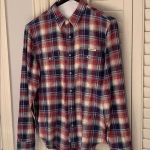 Lucky brand read white and blue shirt